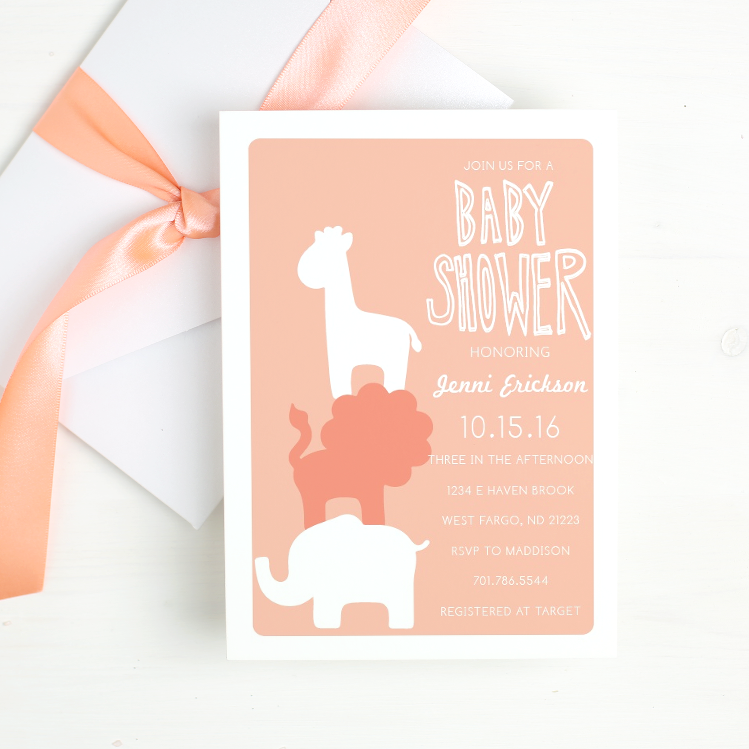 Safari Baby Shower with Basic Invite