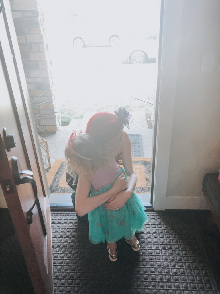 hugging ariel goodbye