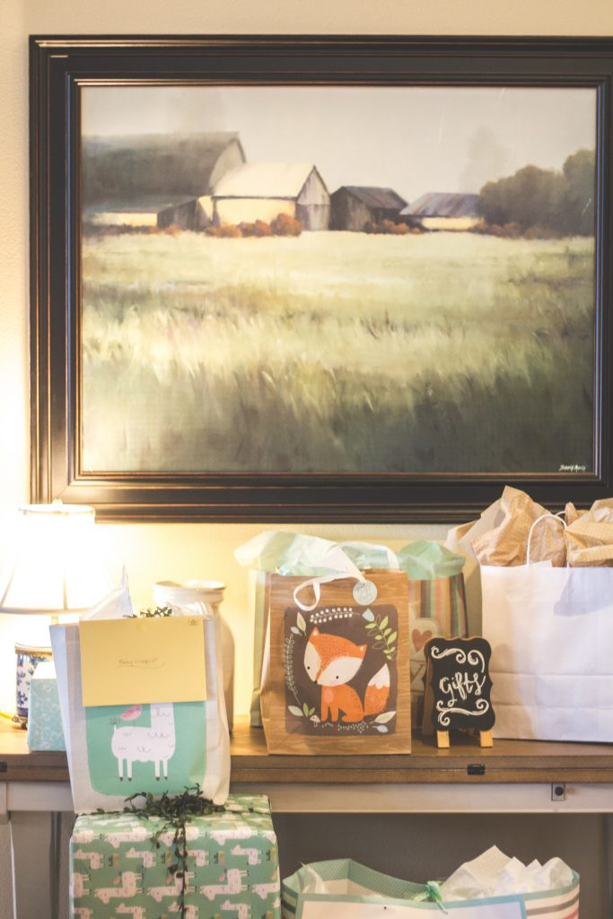 farm themed baby shower gift table