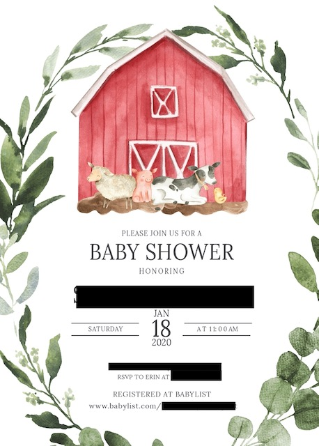 farm themed baby shower invitation